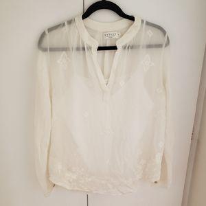 Velvet Graham&Spencer sheer white blouse embroider